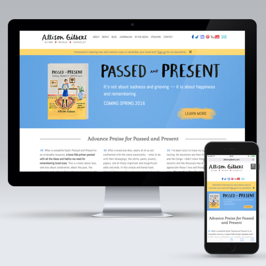 Allison Gilbert Passed and Present Book Relaunch Web Design